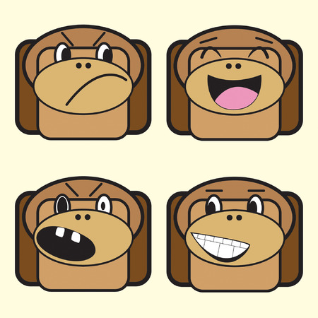 four monkeys on isolated background Vector