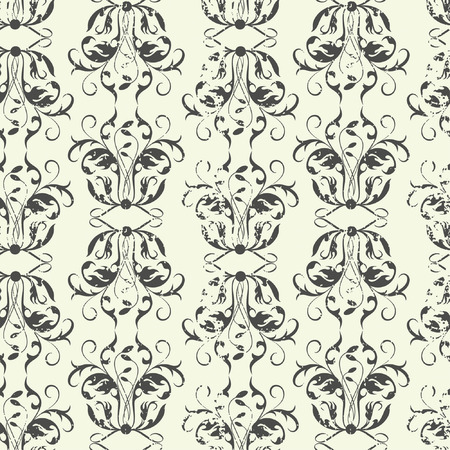 grunge floral in one pattern Vector