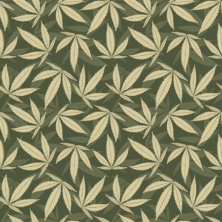 marihuana laat in een patroon  Vector Illustratie