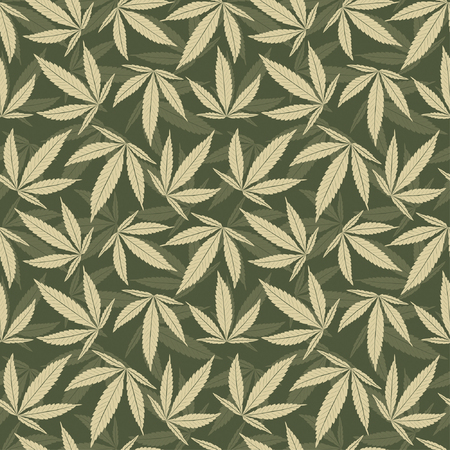marijuana leaves in one pattern Stock Vector - 4832043