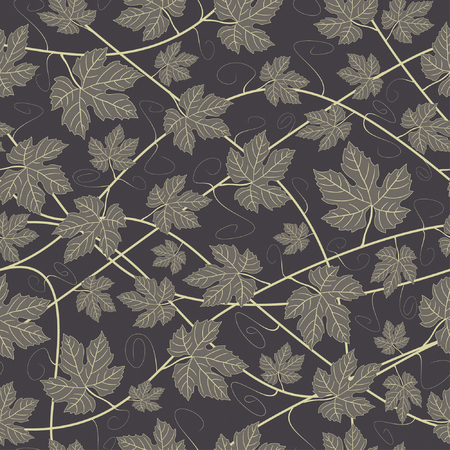 gold grapevines in one pattern Vector