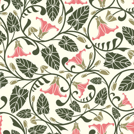 bindweed: pink bindweed in one pattern Illustration