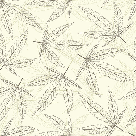 marijuana leaves in one pattern Stock Vector - 4913040