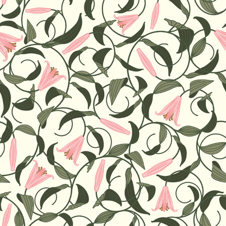 pink lily: floral pattern from lily in modern style