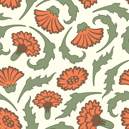 effortless: carnations pattern in modern style Illustration