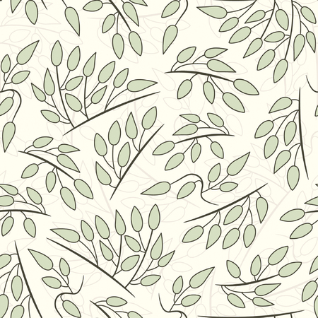 effortless: pastel leaves pattern in floral style Illustration
