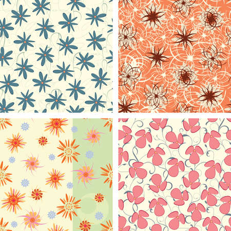 pattern set in naive floral style Vector