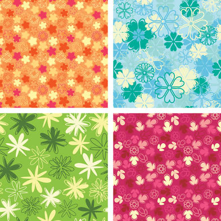 pattern set in naive floral style Stock Vector - 5227150