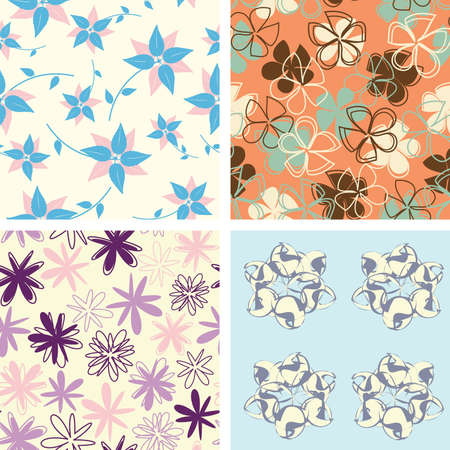 naive flowers in pattern set Vector