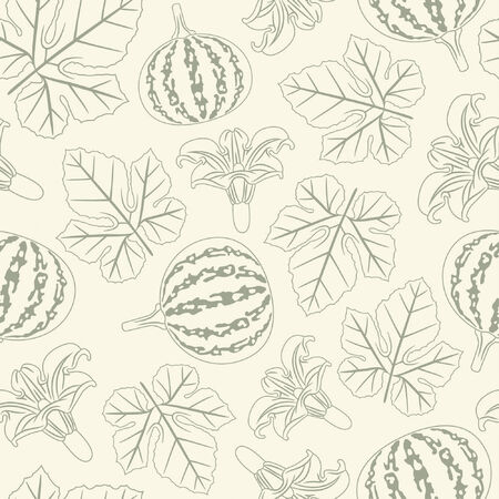 pumpkin pattern in floral style Stock Vector - 5252201