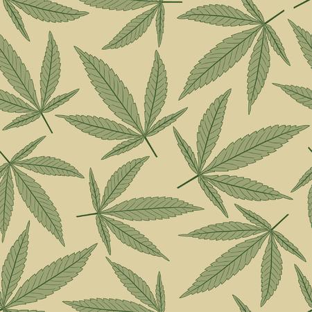 marijuana leaves in one pattern Vector