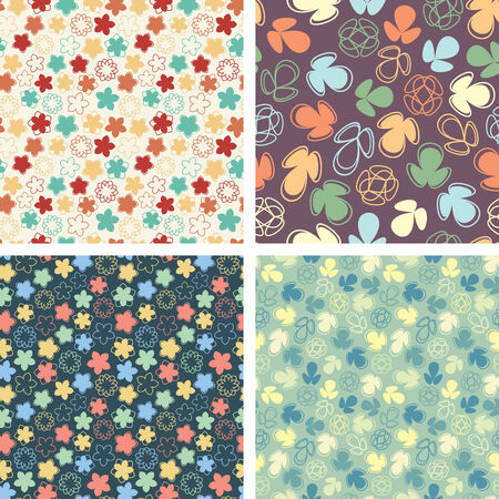 naive flowers in pattern set Stock Vector - 5331736