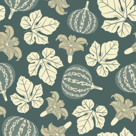 pumpkin pattern in floral style Vector