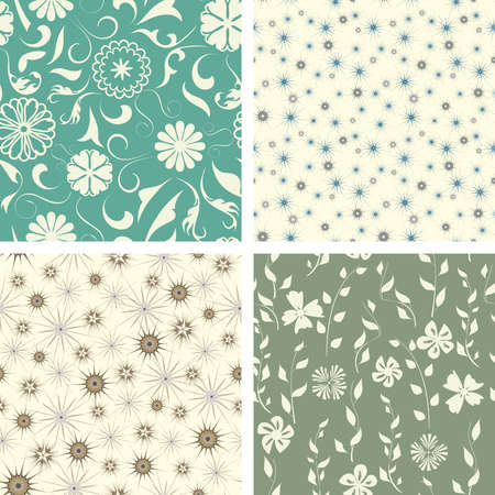 naive flowers in pattern set  Stock Vector - 5447227