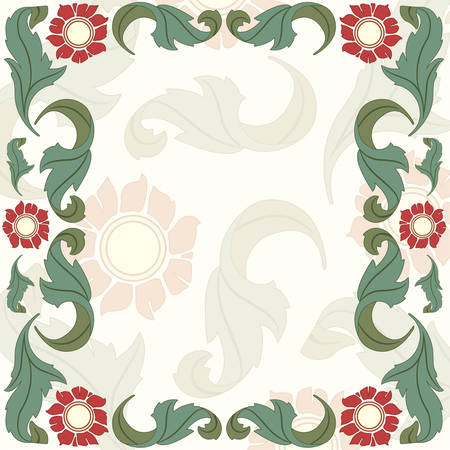 floral frame from leaves and flowers Stock Vector - 5566265