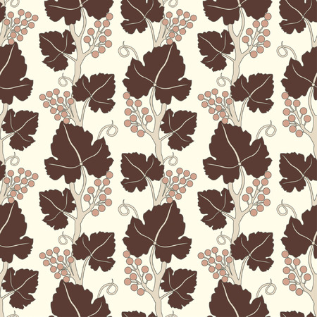 grapes lattice pattern in floral style Vector