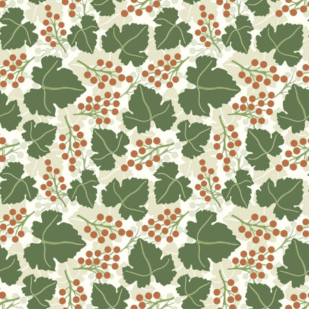 grapes pattern in floral style Vector