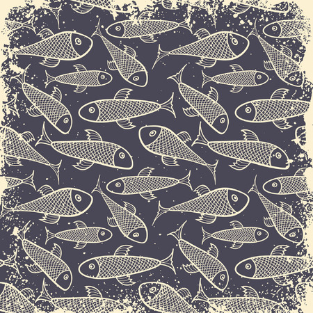 fish pattern in grunge style Stock Vector - 6343684
