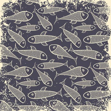 patrón de peces en estilo grunge