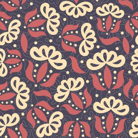 primitive flowers in floral pattern
