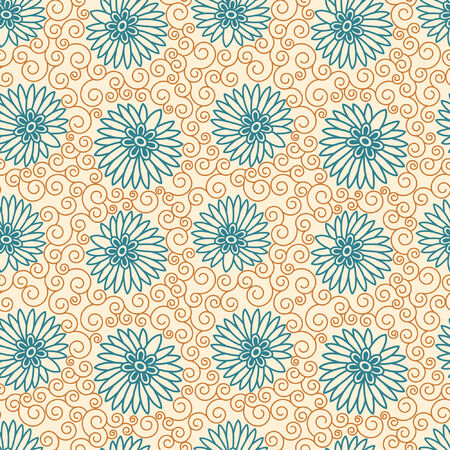 sparce: outline flowers in floral pattern Illustration