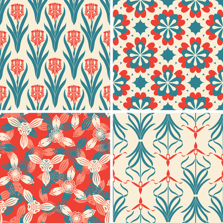 sparce: red blue floral patterns in set