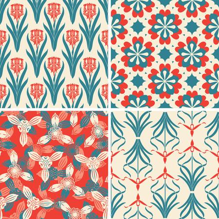 lattice frame: red blue floral patterns in set