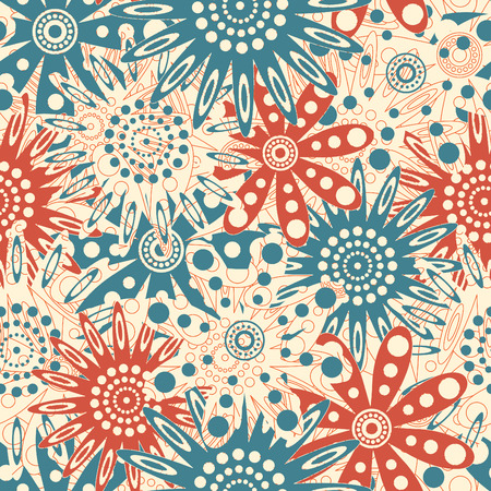 red blue flowers in floral pattern Vector
