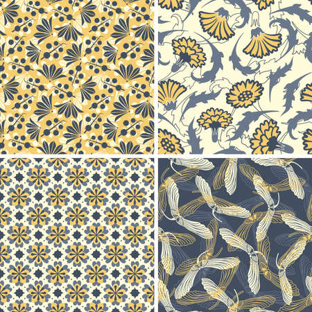 black yellow floral patterns in set Vector