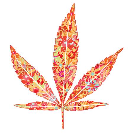 ganja: fleurs lumineuses dans les feuilles de marijuana