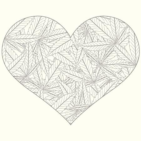 outline marijuana leaves in heart Stock Vector - 6658973