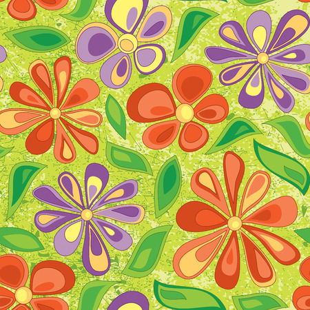 primitive bright floral pattern for children Vector