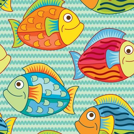 bright joyful fishes in pattern Vector