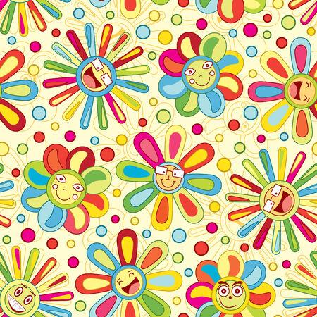 bright joyful flowers in pattern Stock Vector - 6731527