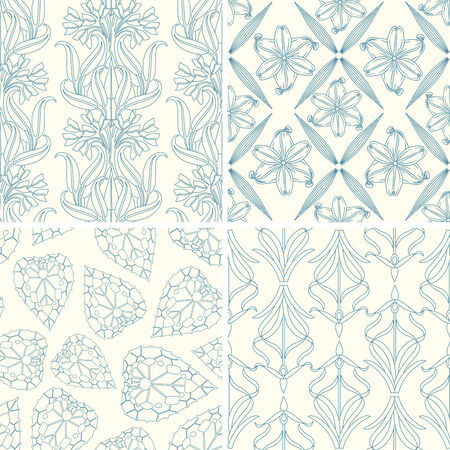 lattice frame: outline floral patterns in set