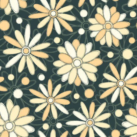 floral pattern in pencil drawing style Vector