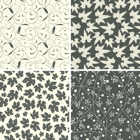 black white patterns in floral style Stock Vector - 6731533