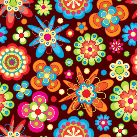 bright flowers in floral pattern Vector