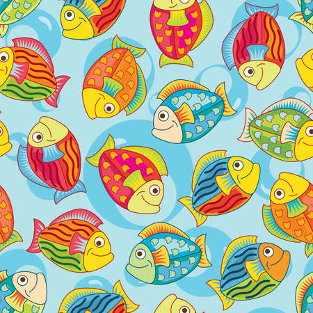 bright joyful fishes in pattern Stock Vector - 6790761