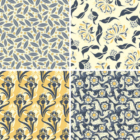 various floral patterns in set Vector