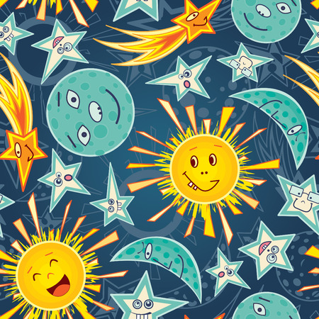 moon stars and sun in cartoon pattern Stock Vector - 6790775
