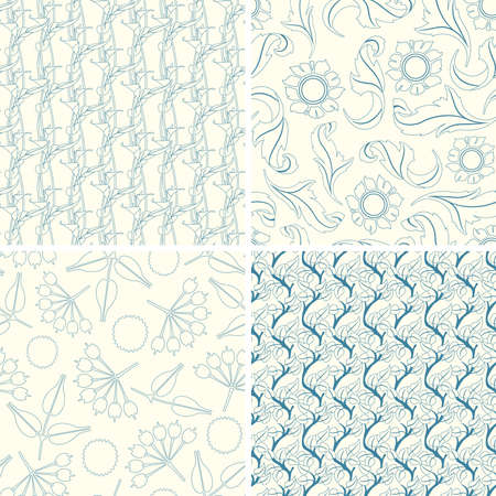 outline floral patterns in set Vector