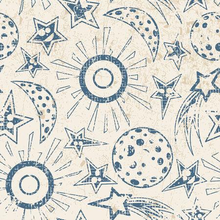 luna caricatura: estrellas de la Luna y el sol en el patr�n de grunge