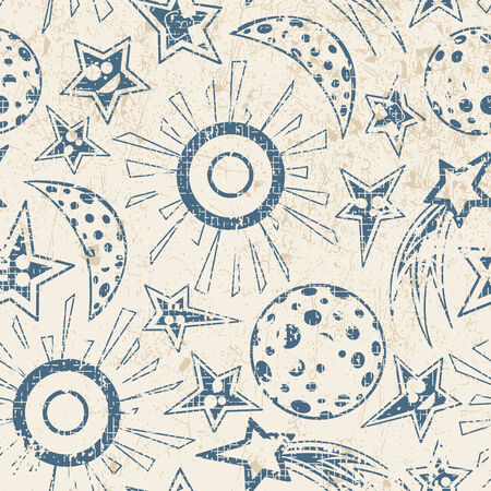 moon night: moon stars and sun in grunge pattern