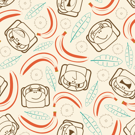 outline monkeys and bananas in pattern Vector