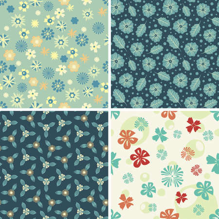 four floral patterns in set Vector