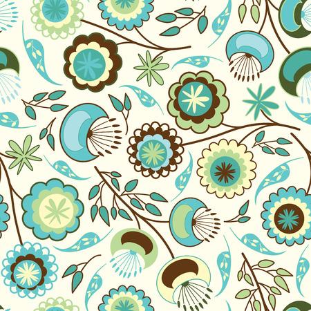 effortless: flores simples en patr�n floral Vectores