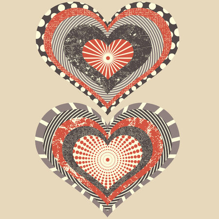 two hearts in grunge style Vector