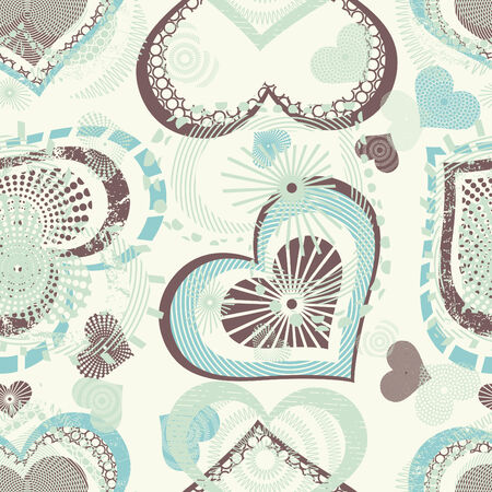 sparce: hearts in grunge style pattern