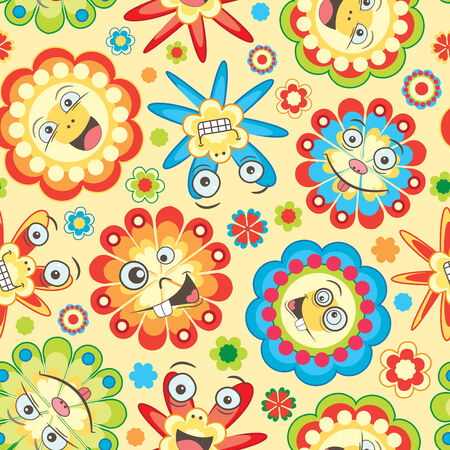 bright fun flowers for children in pattern Stock Vector - 6935236